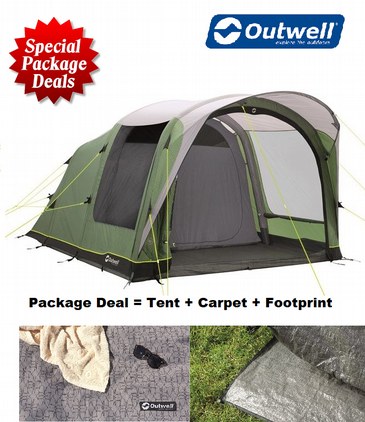 Outwell Cedarville 5A Air Camping Tent Package Deal with Carpet & Footprint